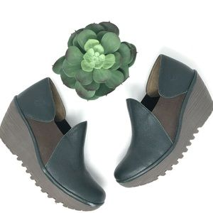 Fly London Green  Leather Yat Wedge Bootie